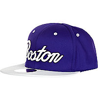 Bright blue boston snapback cap