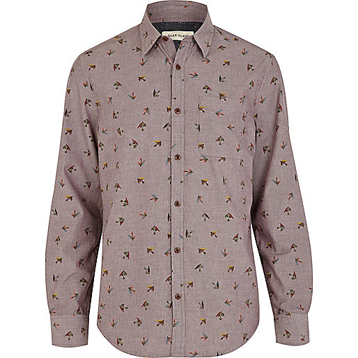 Purple fly fish print shirt