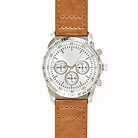 Light brown round face watch
