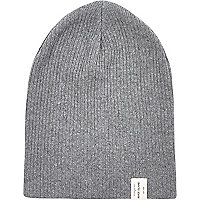 Dark grey knit beanie hat