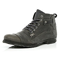 Grey distressed low biker boots