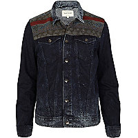 Blue dark acid wash denim aztec print jacket