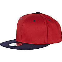 Red and navy snapback cap