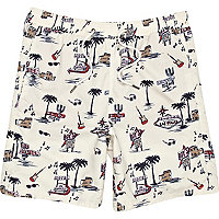 Ecru motel print swim shorts