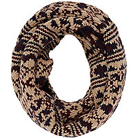 Light brown fairisle snood