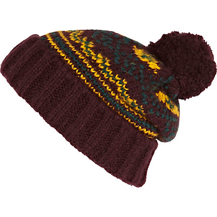 Purple patterned bobble beanie