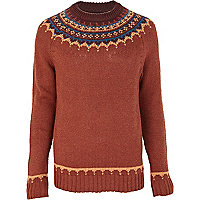 Rust fairisle yoke jumper