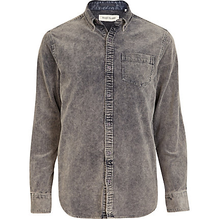 Grey acid wash corduroy shirt