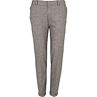 Grey fleck smart skinny ankle grazer trousers