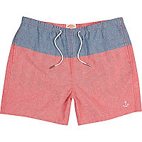 Red and blue colour block swim shorts