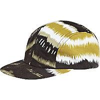 Navy jagged print flatpeak hat