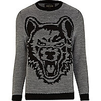 Dark grey wolf print jumper