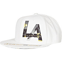 White LA print metallic trucker hat