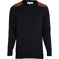 Navy shoulder patch detail jumper