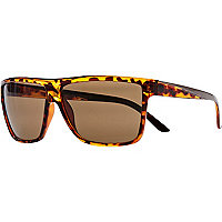Brown tort flat top retro sunglasses