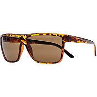 Brown tort flat top retro sunglasses
