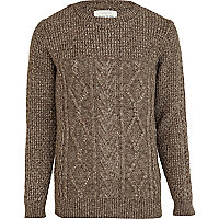 Light brown chunky cable knit jumper