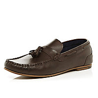 Dark brown tassel loafers