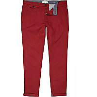Ruby red turn up skinny chinos