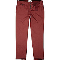Bright red slim leg turn up chinos