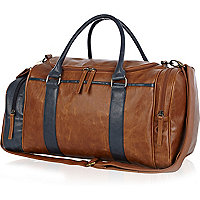 Brown and navy mini holdall