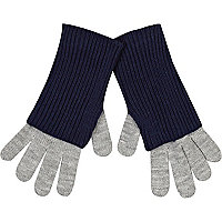 Grey and navy gloves