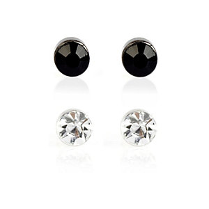 Black and silver diamante earrings
