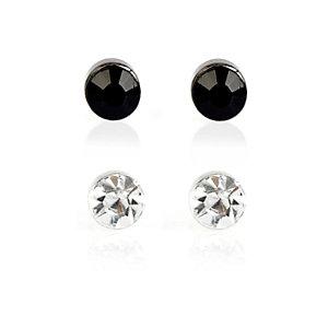 Black and silver rhinestone earrings