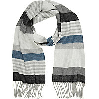 Grey stripe brushed scarf