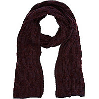 Dark purple cable knit scarf