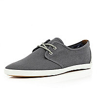 Grey contrast lace up plimsolls