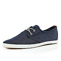 Navy denim lace up plimsolls