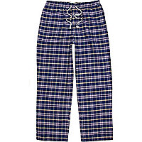 Navy check lounge pants