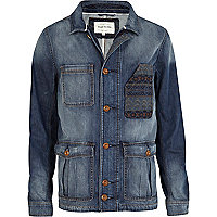 Blue denim fairisle pocket jacket