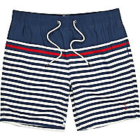 Navy Breton stripe swim shorts