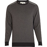 Grey printed shoulder patch jumper