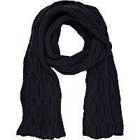 Navy cable knit scarf