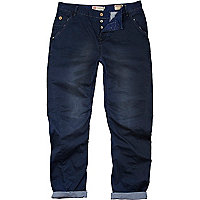 Blue distressed twisted seam carpenter chinos
