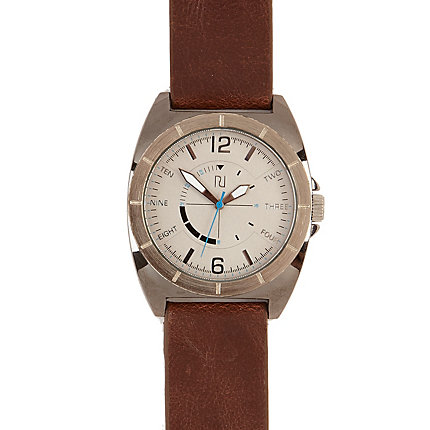 Brown gunmetal watch