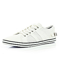 White leather look buckle lace up plimsolls