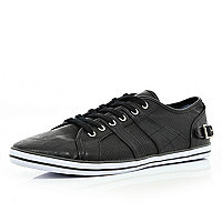 Black buckle lace up plimsolls