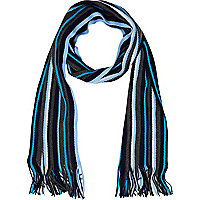 Turquoise and light blue stripe scarf