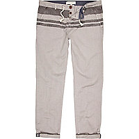 Grey stripe top slim leg marine trousers