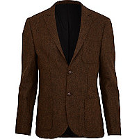 Rust brown herringbone blazer