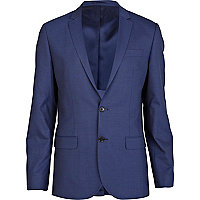 Blue double button slim fit suit jacket