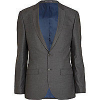 Mid grey slim suit jacket