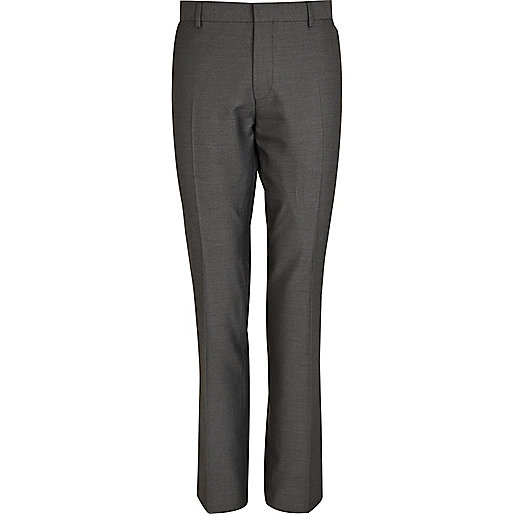 Mid grey slim fit suit trousers
