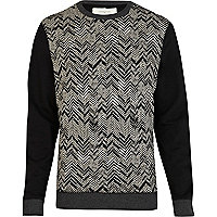 Black herringbone sweatshirt