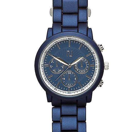 Blue matte metallic watch