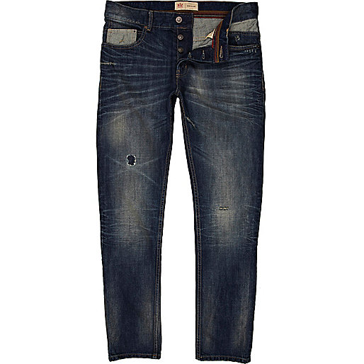 Dark wash distressed Dylan slim jeans